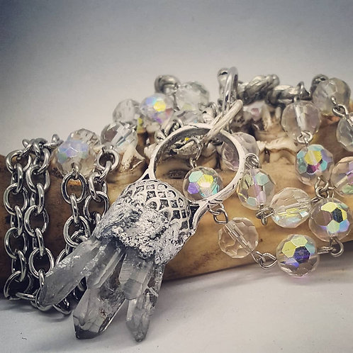 Quartz Cathedral Cluster Ring on Long Beaded Chain