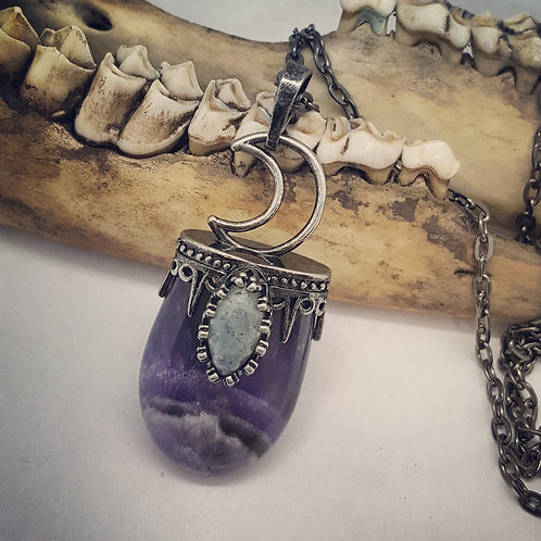 "Amethyst with Labradorite & Moon on 20"" Chain"