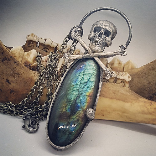 "Soldered Labradorite with Skull & Crossbones on 20"" Chain"