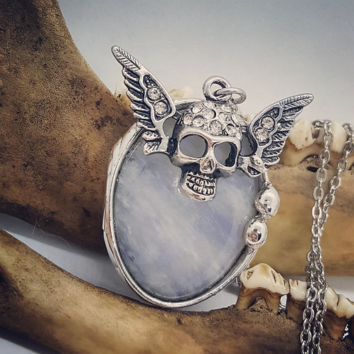 "Soldered Moonstone with Winged Rhinestone Skull on 20"" Chain"