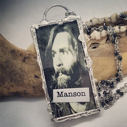 "Double Sided Soldered Manson Pendant on 20"" Chain"