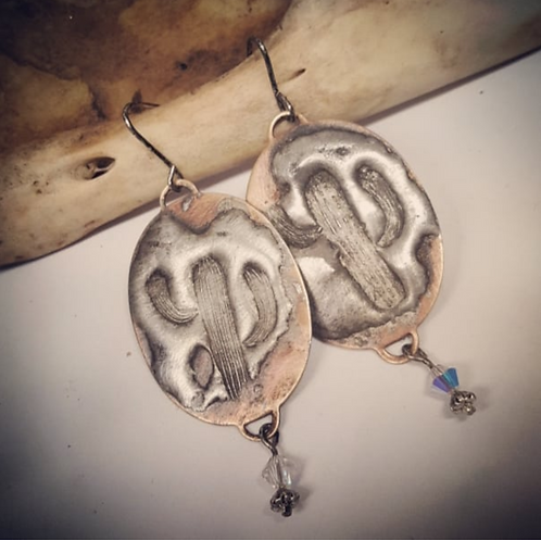 Stamped Cactus Solder on Copper Earrings