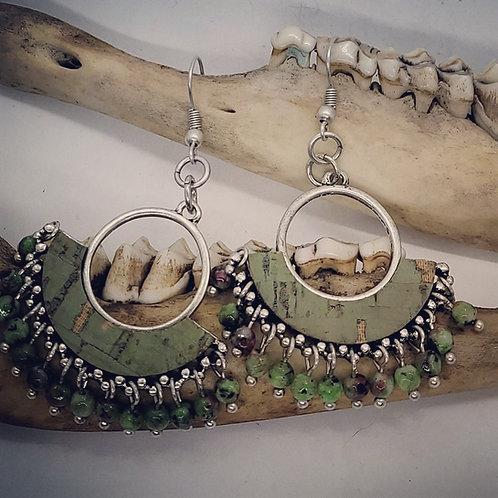 Green Agate Fringe Earrings