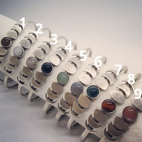 Silver Plated Moon Phase Cuff Bracelets