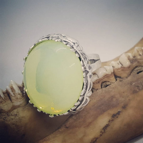 Large Silver Plated Uranium Glass Adjustable Ring