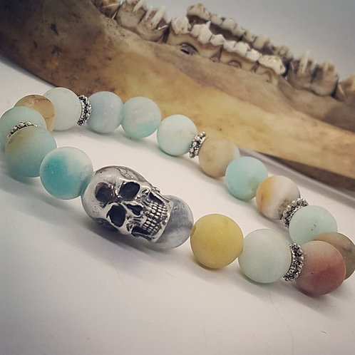 Stainless Skull Stretch Bracelet with Agate Beads