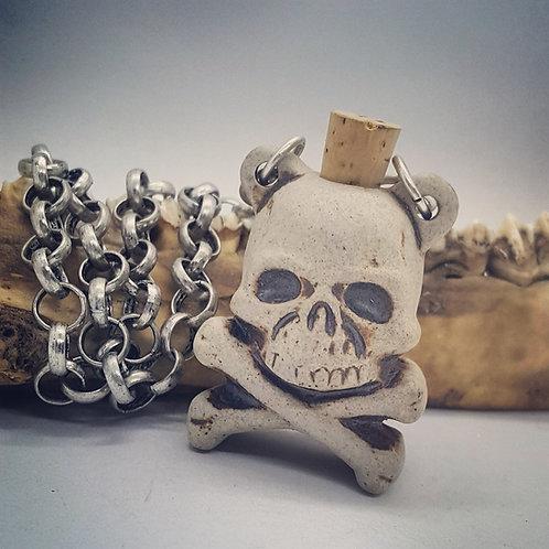 """Ceramic Skull & Crossbones Bottle on 16"""" Heavy Chain with 2"""" Extender"""