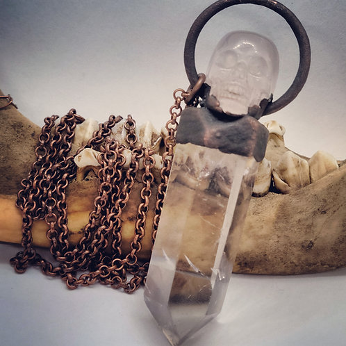 Electroformed Quartz Point with Rose Quartz Skull on Long Chain