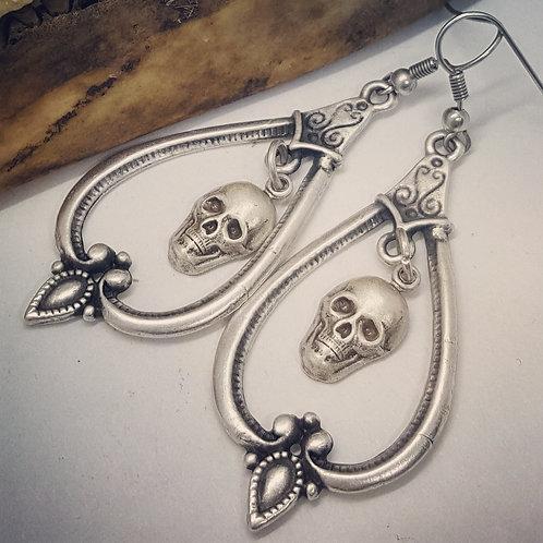Vintage Inspired Skull Drop Earrings