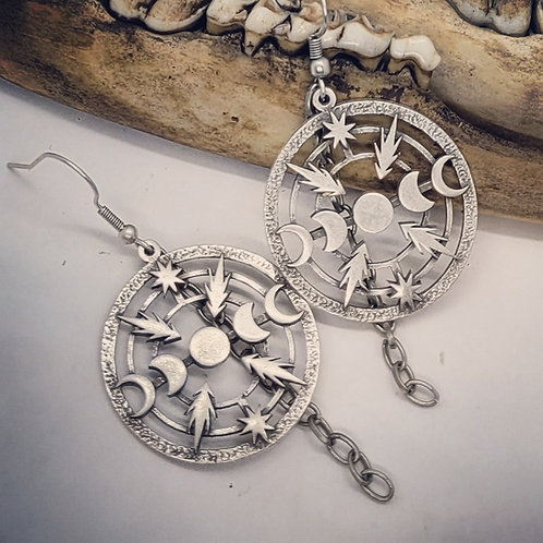 Silver Plated Moon Phase with Lightening Bolt Earrings