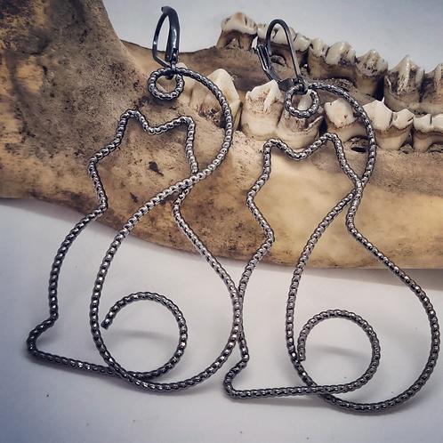 Wire Black Cat Earrings