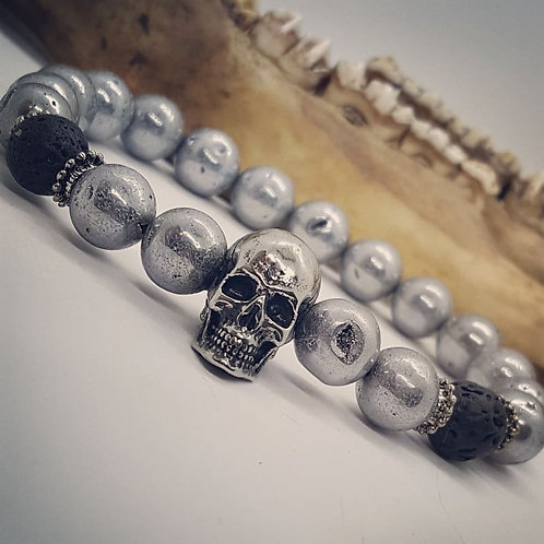 Stainless Skull Stretch Bracelet with Lava Rock and Druzy Beads