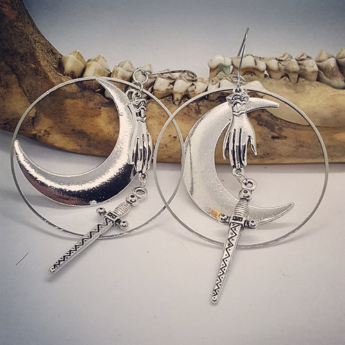 Hand, Moon & Sword Earrings