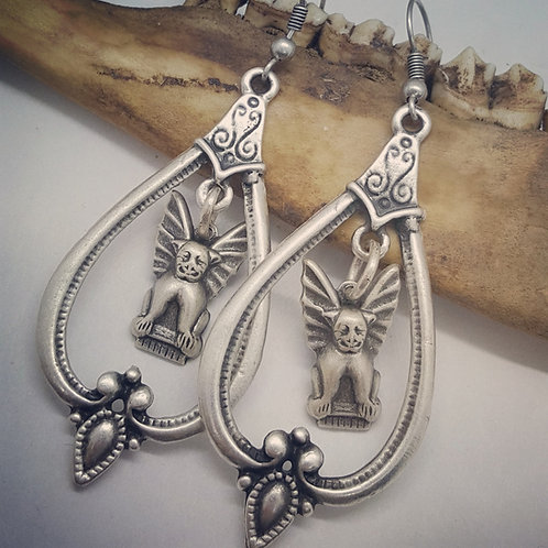 Silver Plated Vintage Style Gargoyle Earrings
