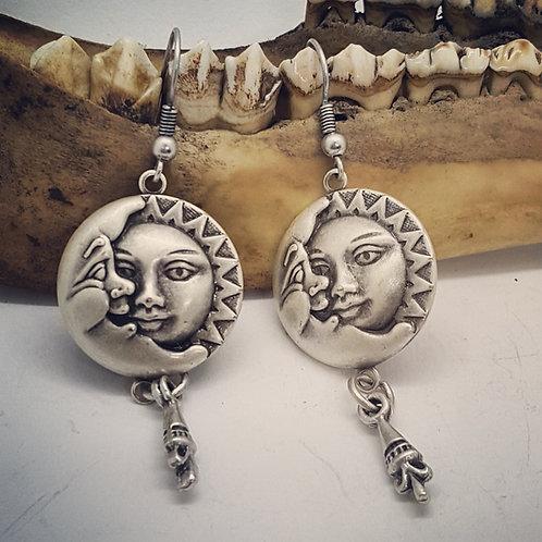 Silver Plated Sun & Moon Earrings