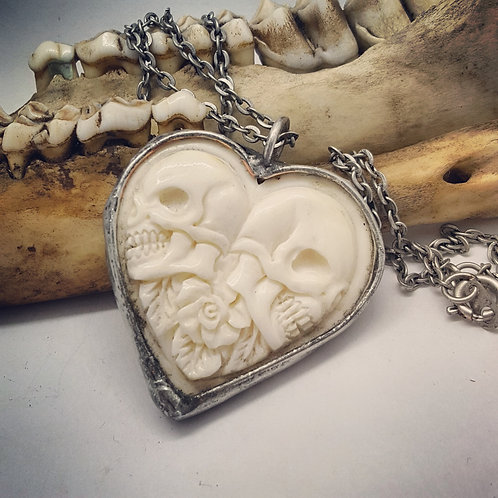 "Soldered Carved Bone Skull Heart on 18""Chain"
