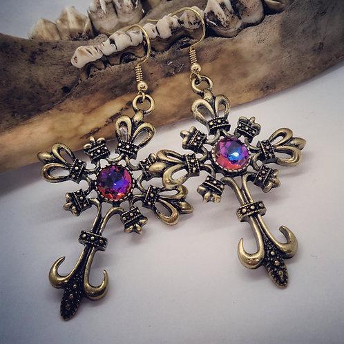 Goldtone Gothic Crosses with Swarovski Crystal