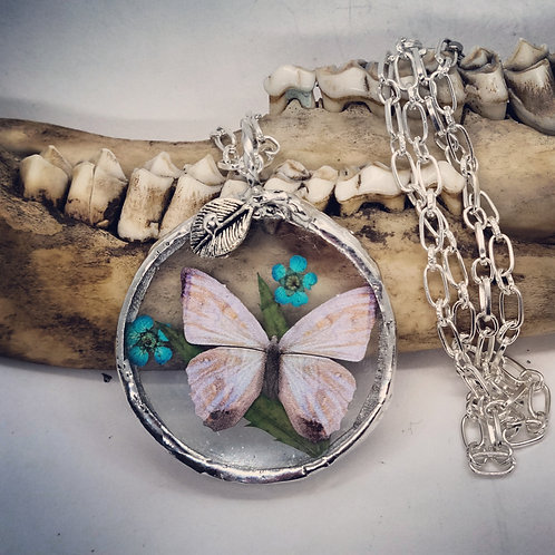 """Soldered Glass Circle with Butterfly Replica & Dried Floral on 20"""" Chain"""