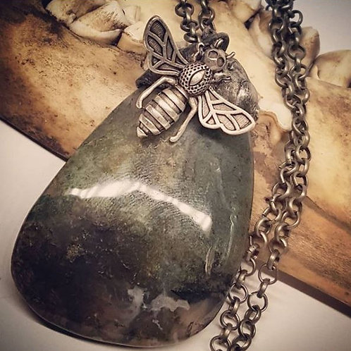 """Large Moss Agate with Bumblebee on 20"""" Chain"""
