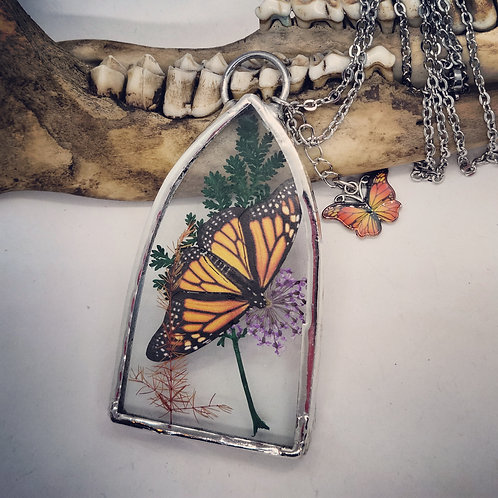 Soldered Glass with Monarch and Dried Floral