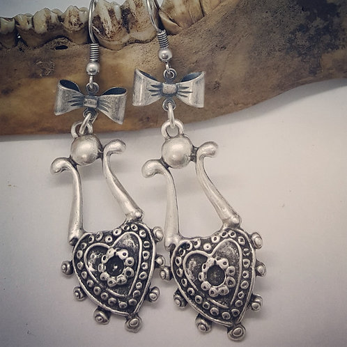 Silver Plated Vintage Inspired Bow Drop Earrings