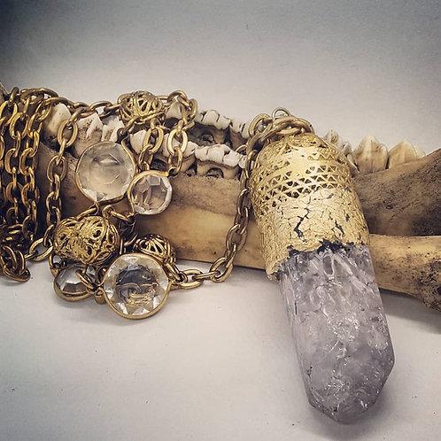 Large Crackle Amethyst on Long Vintage Goldtone Chain