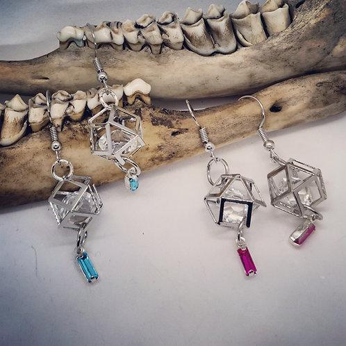 Geometric Earrings with Rhinestones
