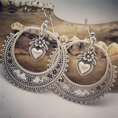 Silver Plated Heart Drop Earrings