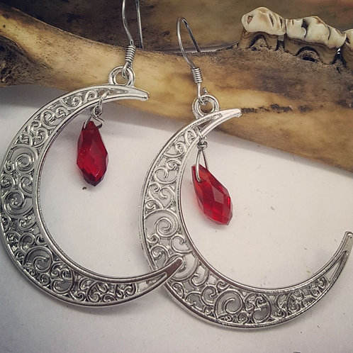 Filigree Crescent Moon with Red Rhinestone Drop Earrings