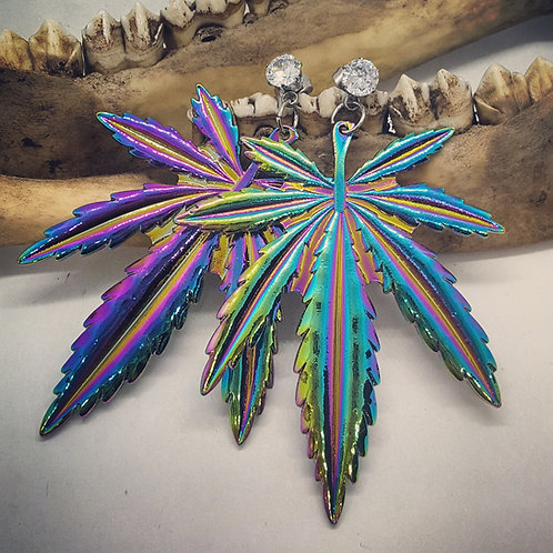 Large Marijuana Leaf Earrings