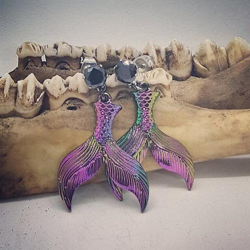 Mermaid Tail Earrings with CZ Post Earrings