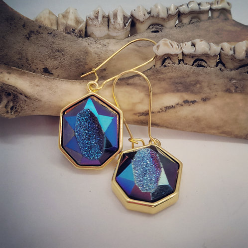 Goldtone Druzy Earrings