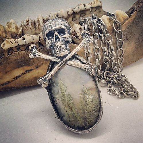 "Soldered Fairy Moss Agate with Skull & Crossbones on 20"" Chain"