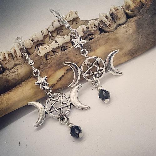Triple Moon Goddess Earrings with Rhinestone Drops
