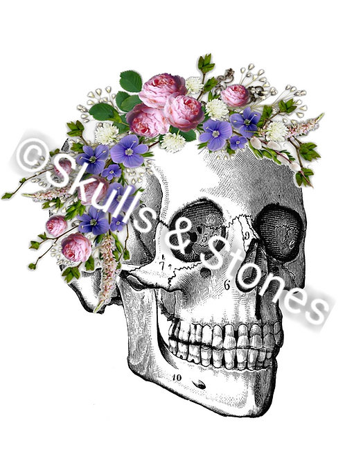 Vintage Skull with Flowers Side View - Matted