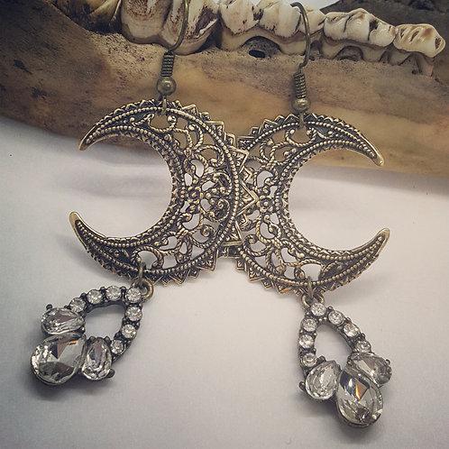 Filigree Moons with Rhinestone Drop Earrings