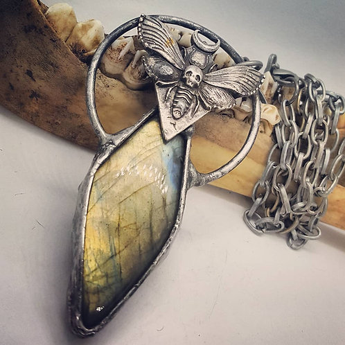 "Soldered Labradorite with Moth on 21"" Chain"