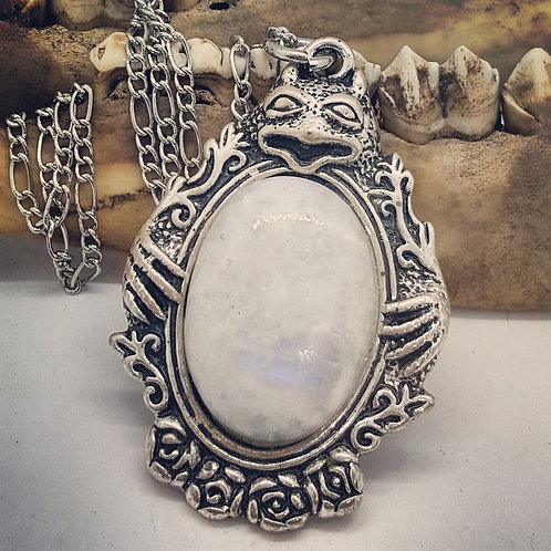 "Gargoyle with Moonstone on 22"" Chain"