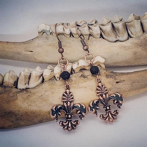 Coppertone Fleur-de-lis Earrings