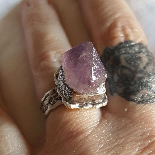 Small Adjustable Amethyst Ring