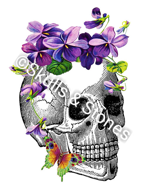 Skull & Violets with Butterfly Print - Matted