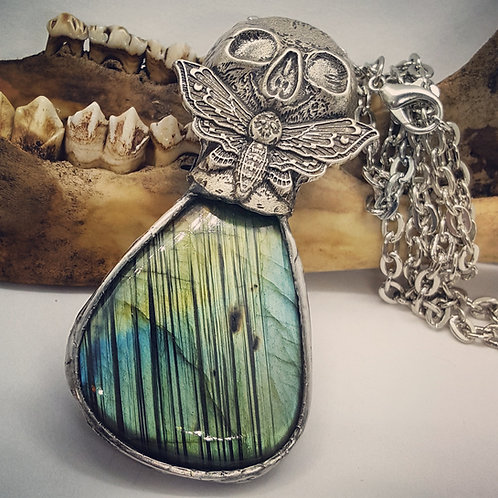 "Large Soldered Labradorite with Skull & Moth on 20"" Chain"