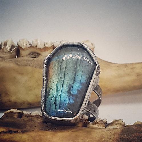 Large Adjustable Soldered Labradorite Coffin Ring