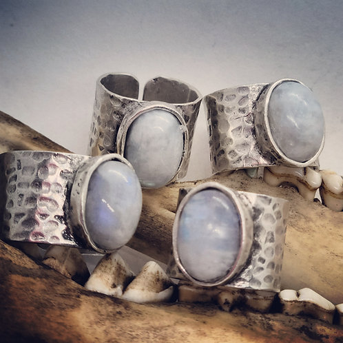 Adjustable Wide Band Silver Plated Moonstone Ring