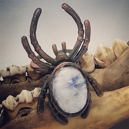 Electroformed Adjustable Spider with Moonstone