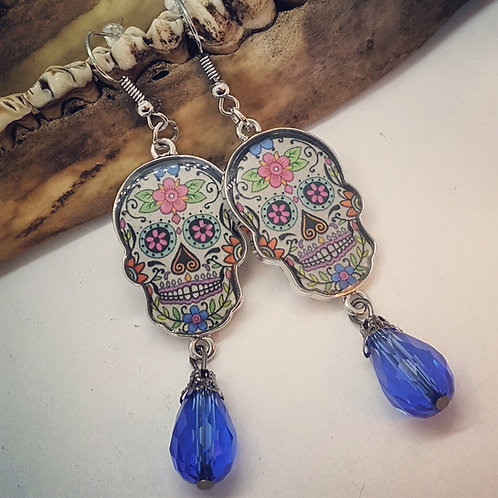Sugar Skulls with Rhinestones Earrings
