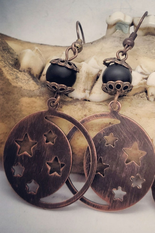 Antiqued Copper Moon/Stars with Beads Earrings