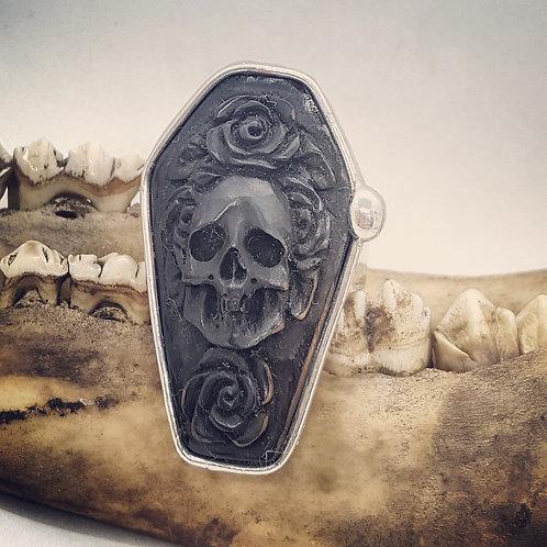 Adjustable Soldered Carved Horn Coffin Ring