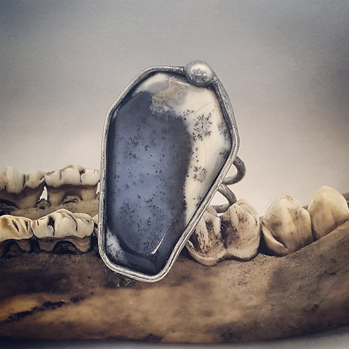 Sz 10 Dendrite Opal Coffin Ring