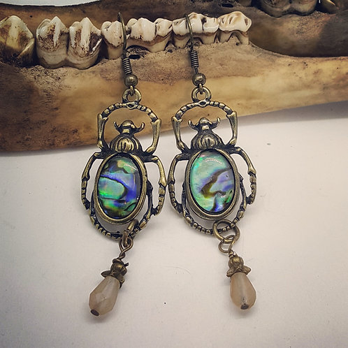 Abalone Scarabs with Stone Drop Earrings